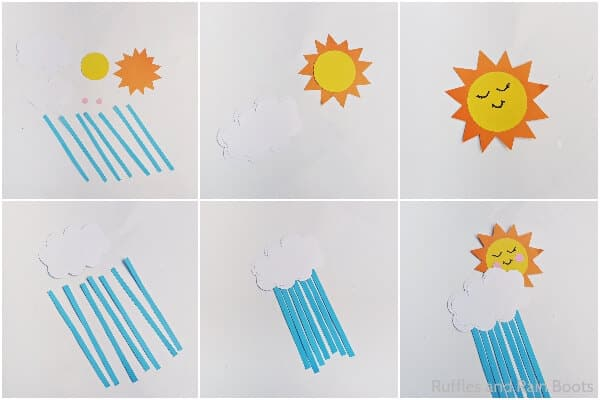 photo collage tutorial of how to make a sun and rain cloud kid craft
