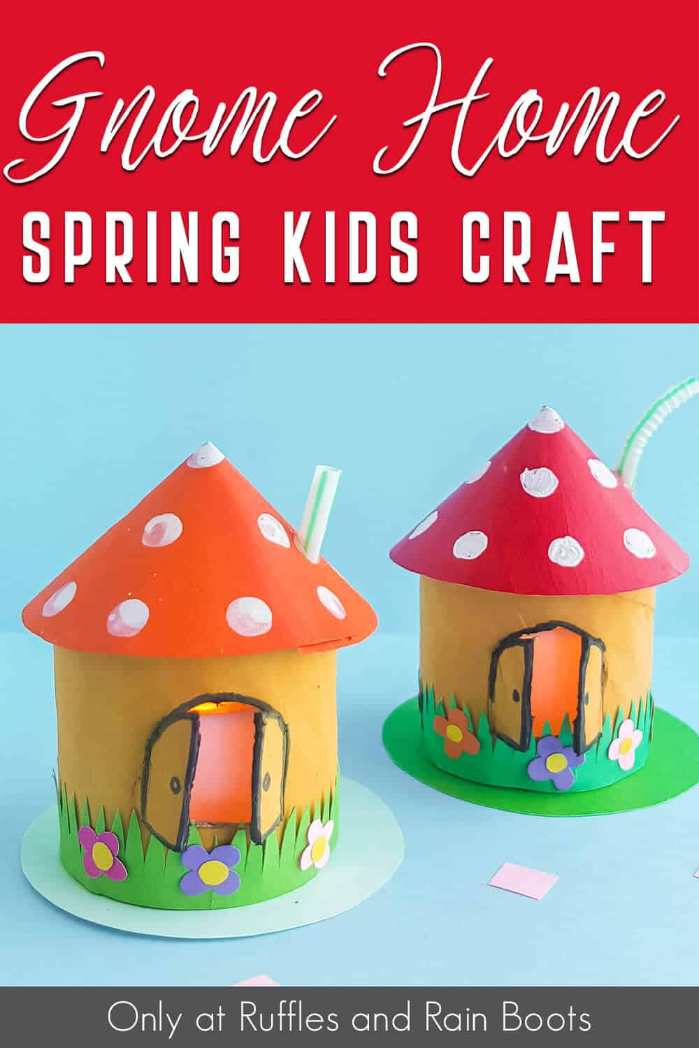 fairy house craft for kids with text which reads gnome home spring kids craft