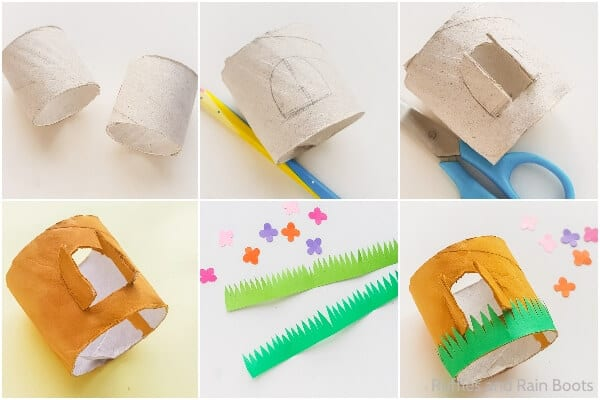 photo collage of how to make a gnome house from a cardboard tube