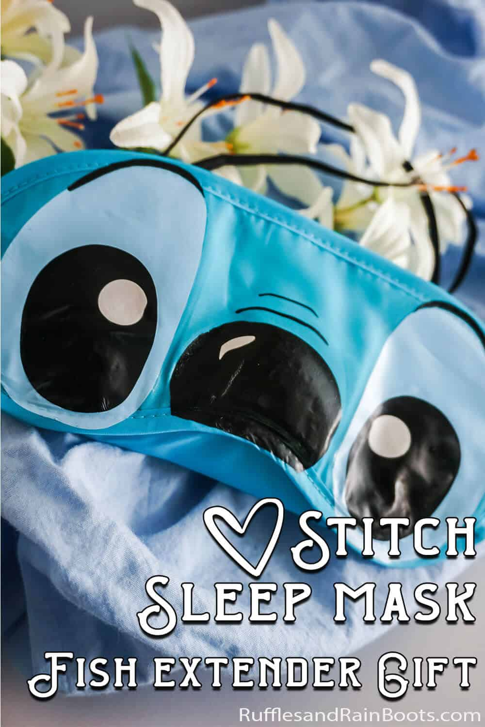 easy stitch mask craft with text which reads stitch sleep mask fish extender gift