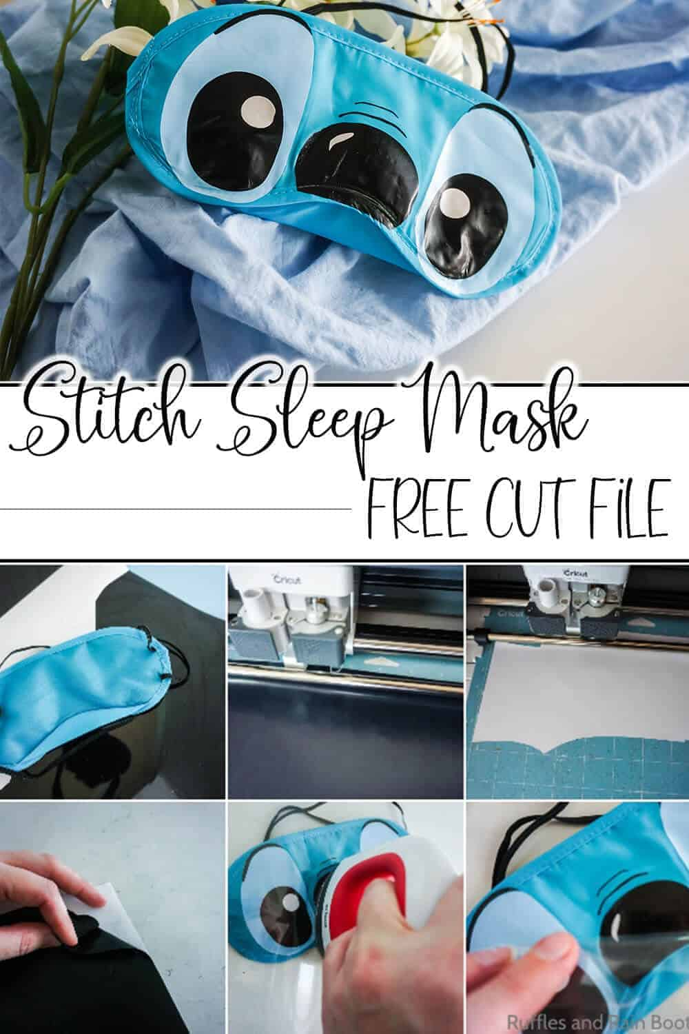 photo collage of easy disney craft idea with text which reads stitch sleep mask free cut file