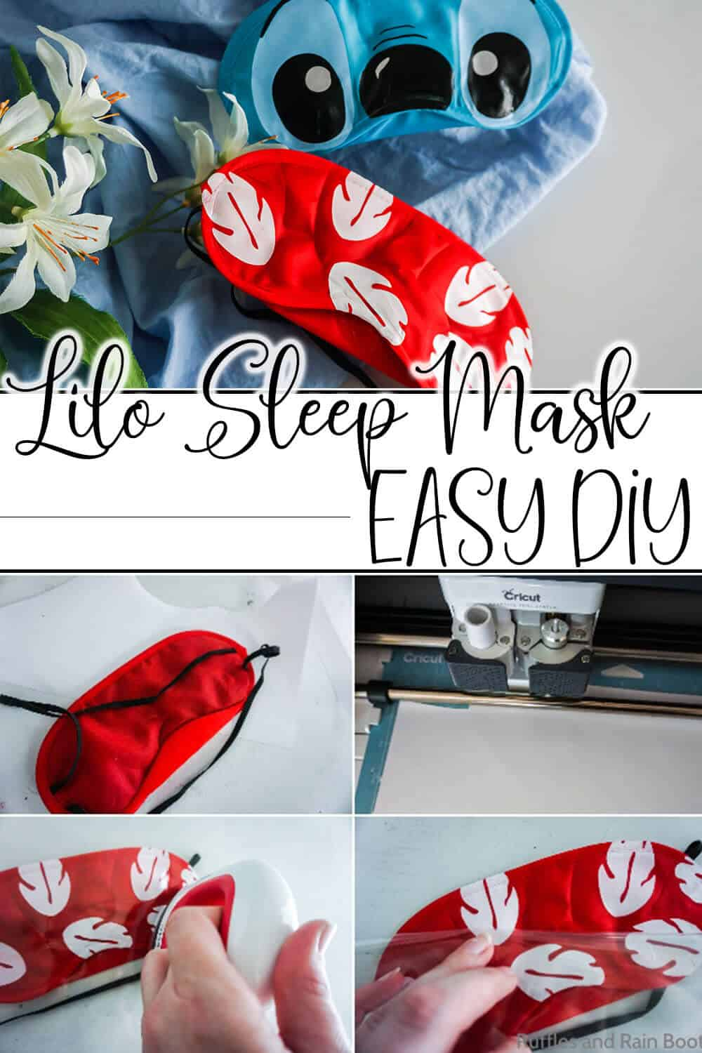 photo collage tutorial of how to make a lilo eye mask with text which reads lilo sleep mask easy diy