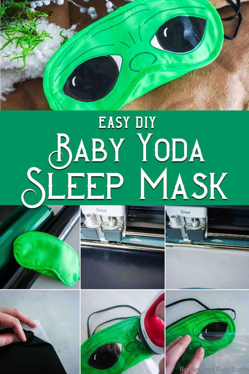 photo collage of easy tutorial to make a baby yoda eye mask with text which reads easy diy baby yoda sleep mask