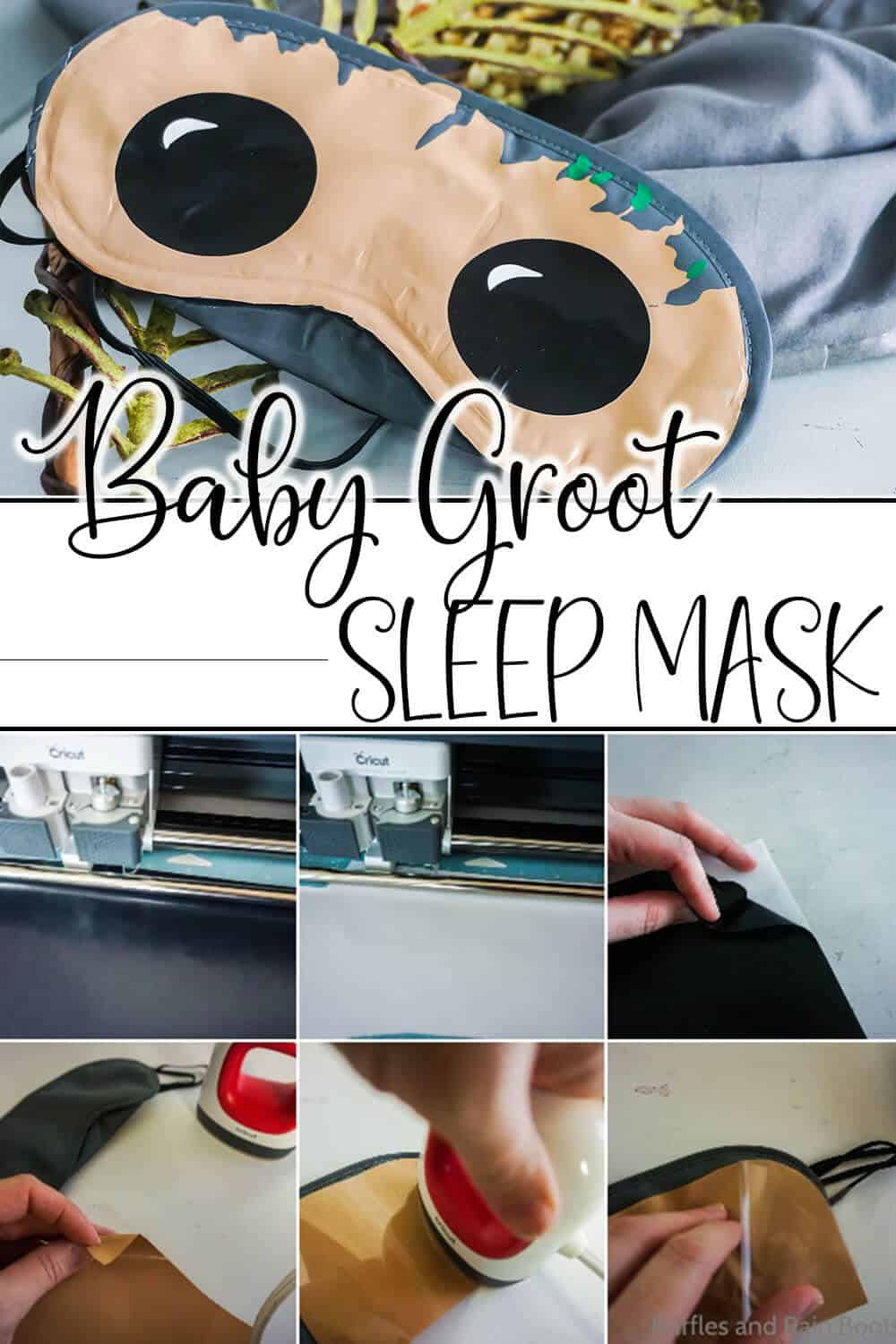 easy diy disney fish extender gift idea with text which reads baby groot sleep mask