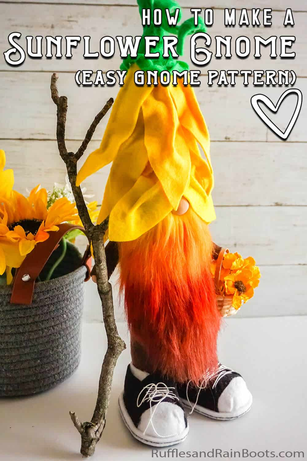 easy pattern for a gnome with a flower hat with text which reads how to make a sunflower gnome (easy gnome pattern)