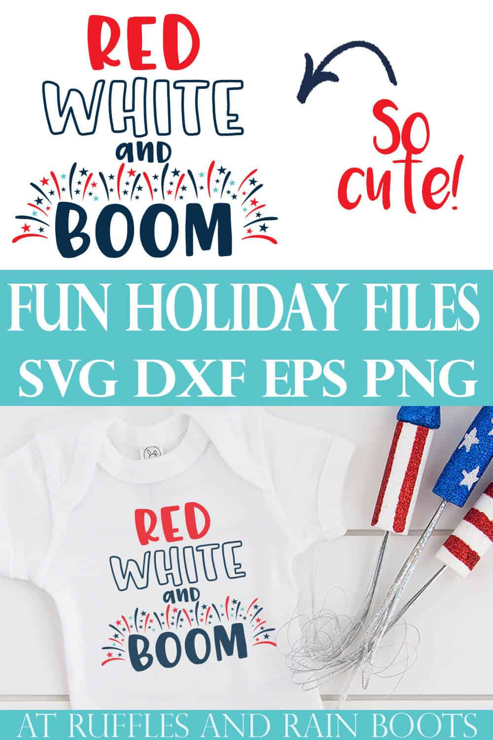 collage of red white and boom svg on an adorable white t shirt and blue tulle skirt for Independence Day