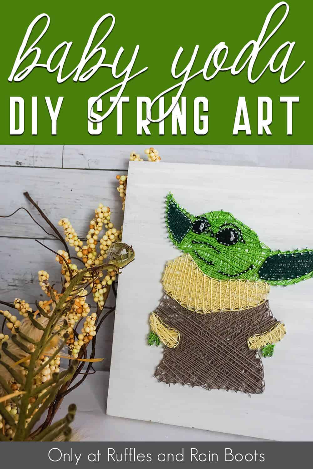 template for baby yoda string art with text which reads baby yoda diy string art