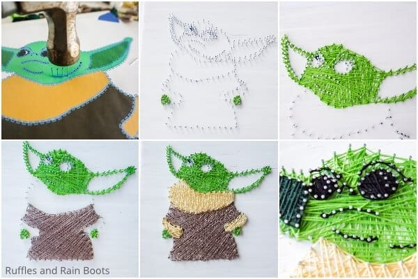 photo collage tutorial of how to make a baby yoda string art