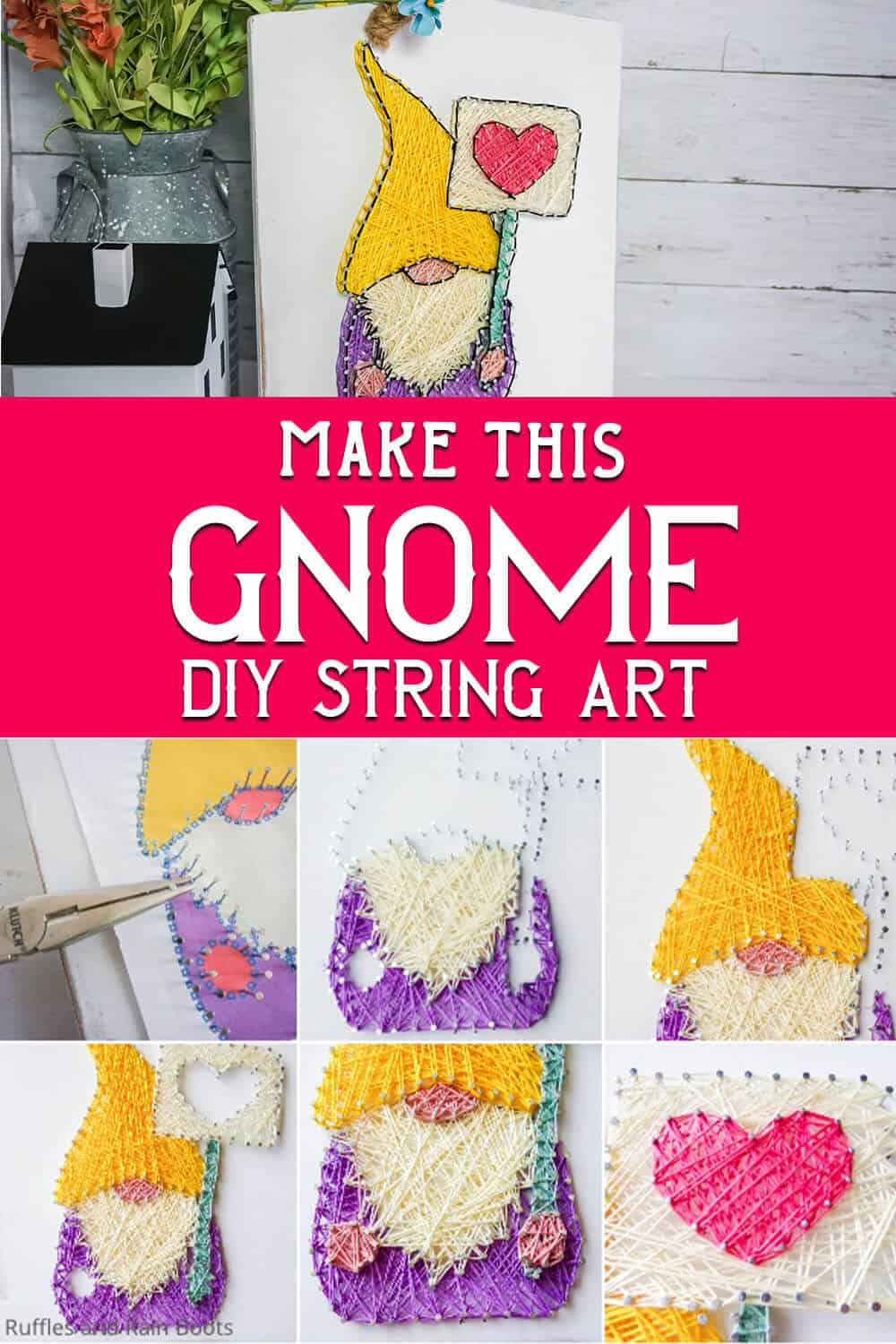 photo collage of easy farmhouse gnome string art with text which reads make this gnome diy string art