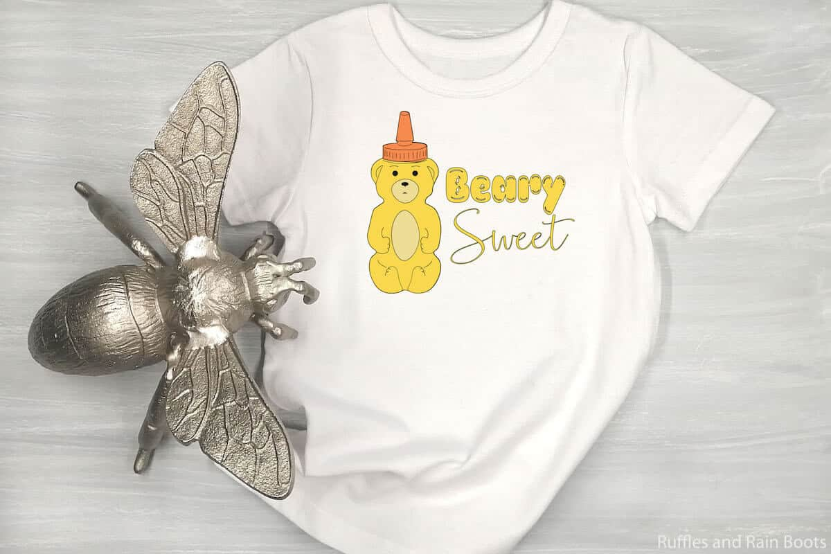 Beary Sweet SVG on a tshirt