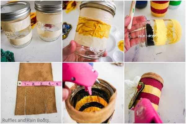 photo collage tutorial of how to make harry potter mason jars for hogwarts houses