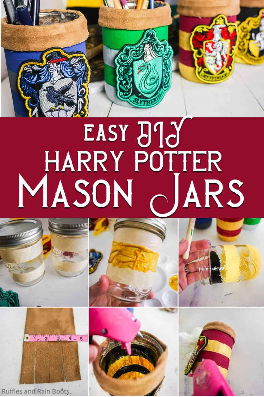 photo collage of easy hogwarts house colors jars with text which reads easy diy harry potter mason jars