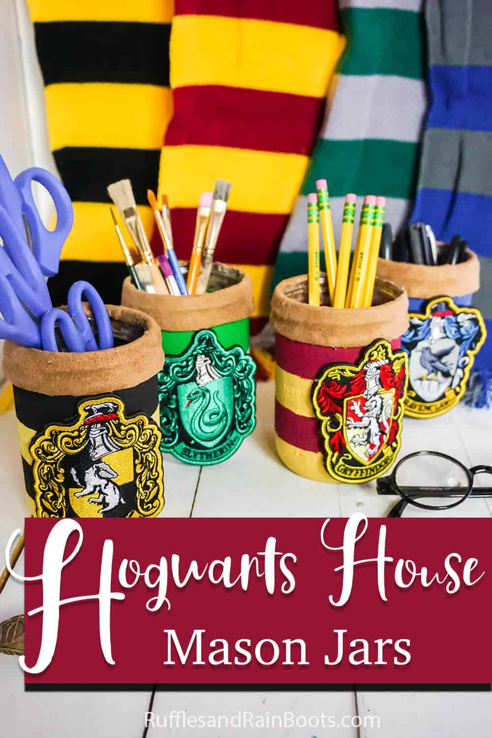 easy diy harry potter themed mason jar craft idea with text which reads hogwarts house mason jars