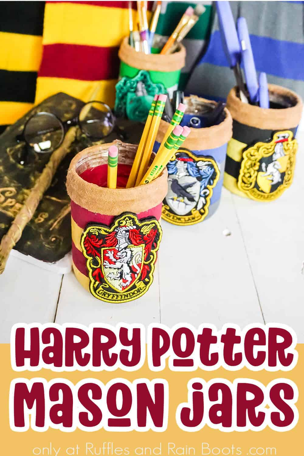 side view of hogwarts house painted jars with text which reads harry potter mason jars