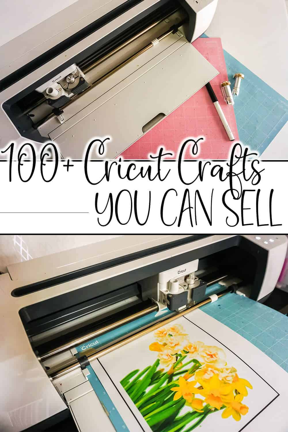 photo collage of cricut cutting craft items to sell on etsy with text which reads 100+ cricut crafts you can sell