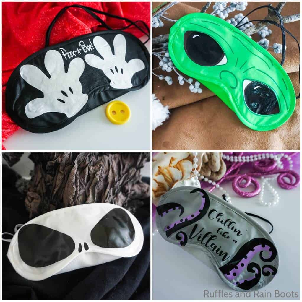 photo collage of how to make a diy mask for disney characters