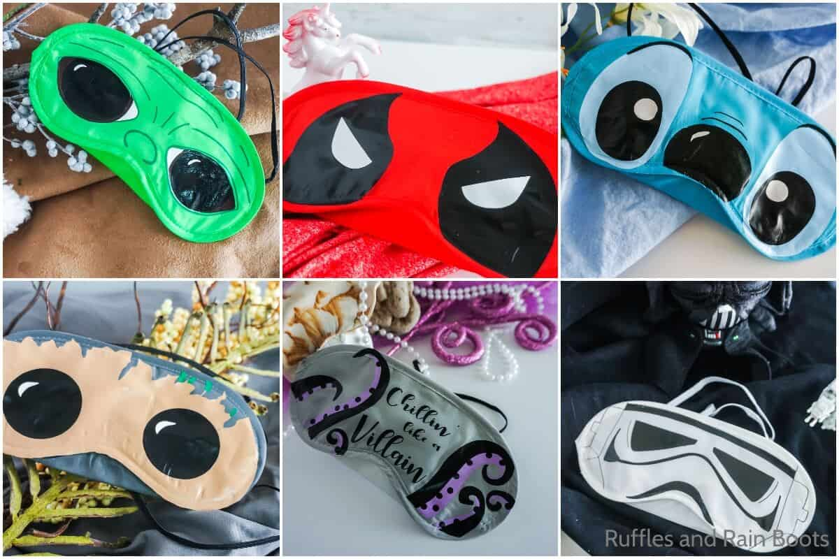 photo collage of how to make a disney sleep mask soc