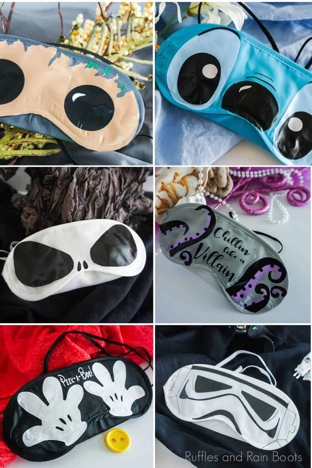 photo collage of disney sleep masks for fish extender diy