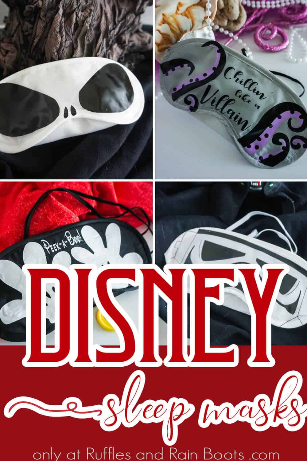 photo collage of easy diy fish extender idea with text which reads Disney sleep masks