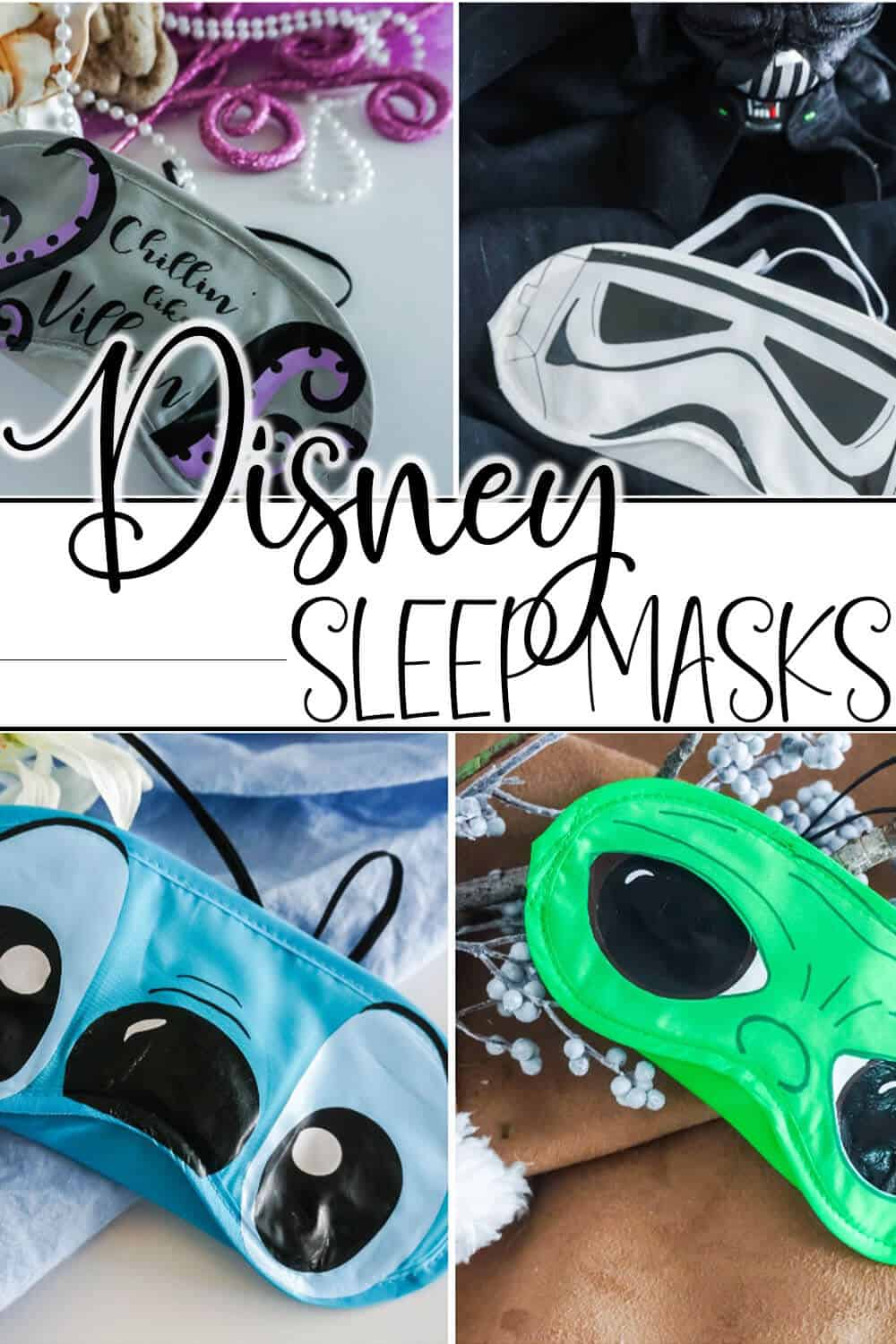 photo collage of easy disney character eye masks for a disney cruise with text which reads Disney sleep masks