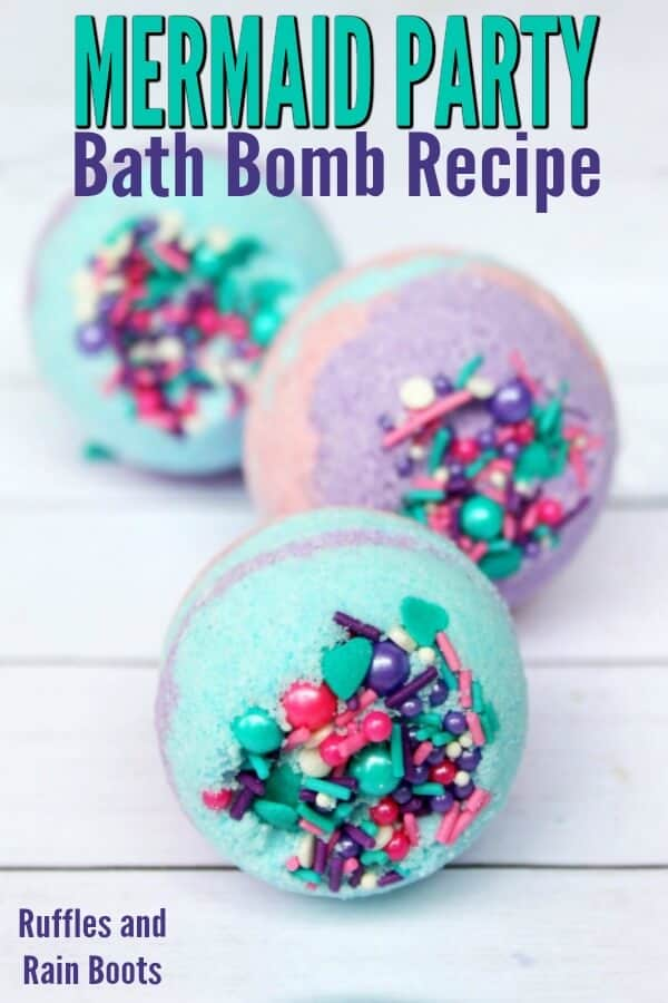 close up of colorful purple, teal, and pink bath fizzies with text which reads mermaid party bath bomb recipe