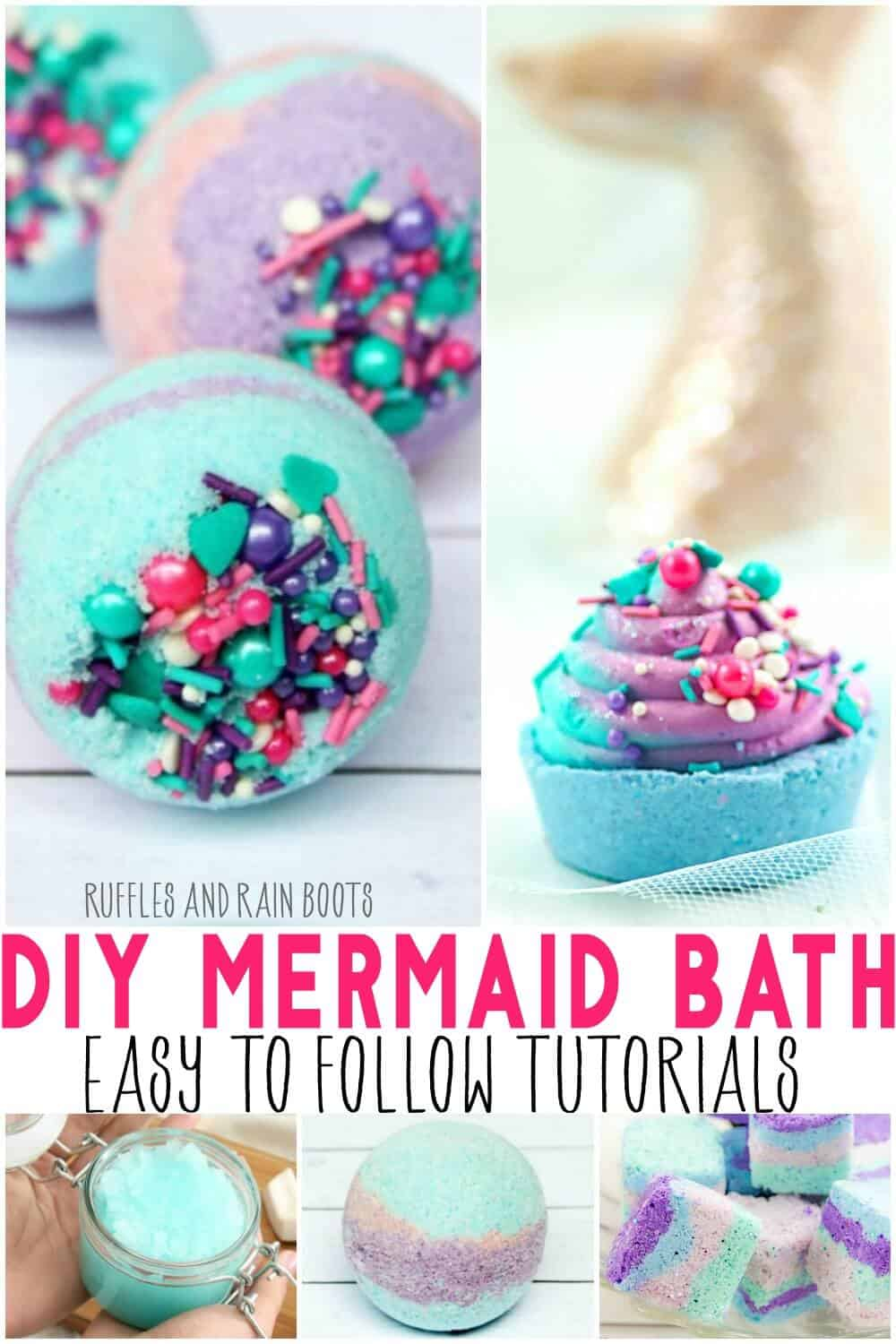 5 image collage with text white reads DIY mermaid bath easy to follow tutorials