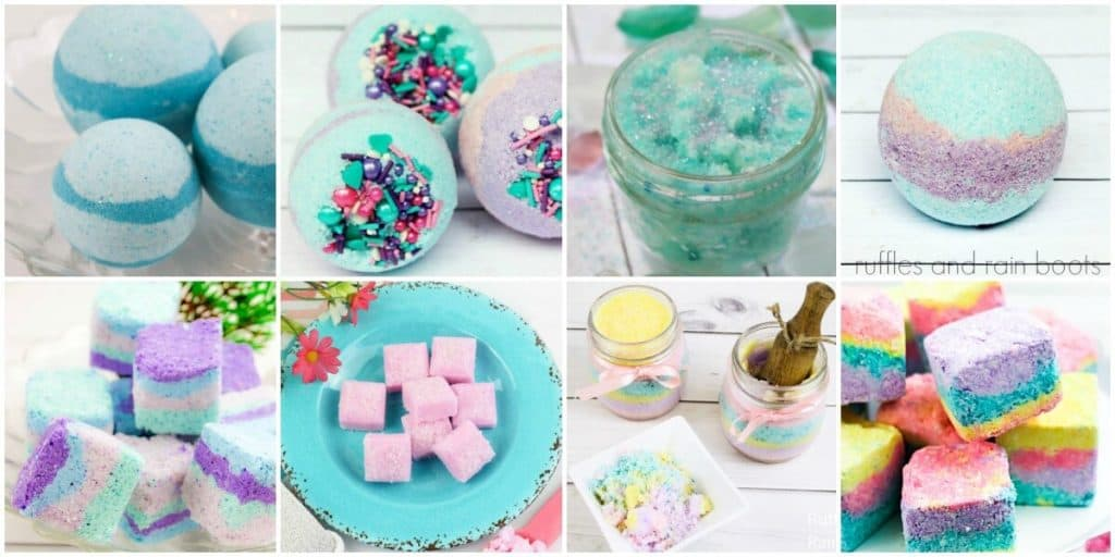 collage of mermaid bath bomb recipes and mermaid sugar scrub tutorials in squares