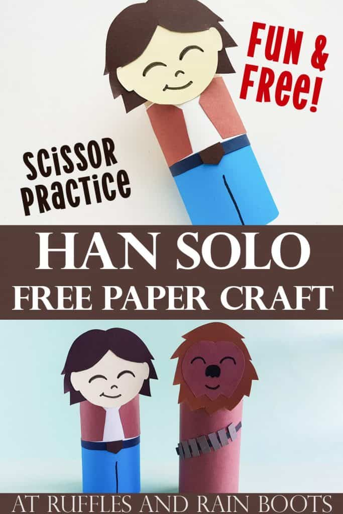 Pin Image of 2 Image Collage with Text Bar in Middle with the text Han Solo Free Paper Craft