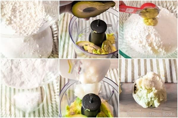 photo collage tutorial of how to make avocado bath bombs