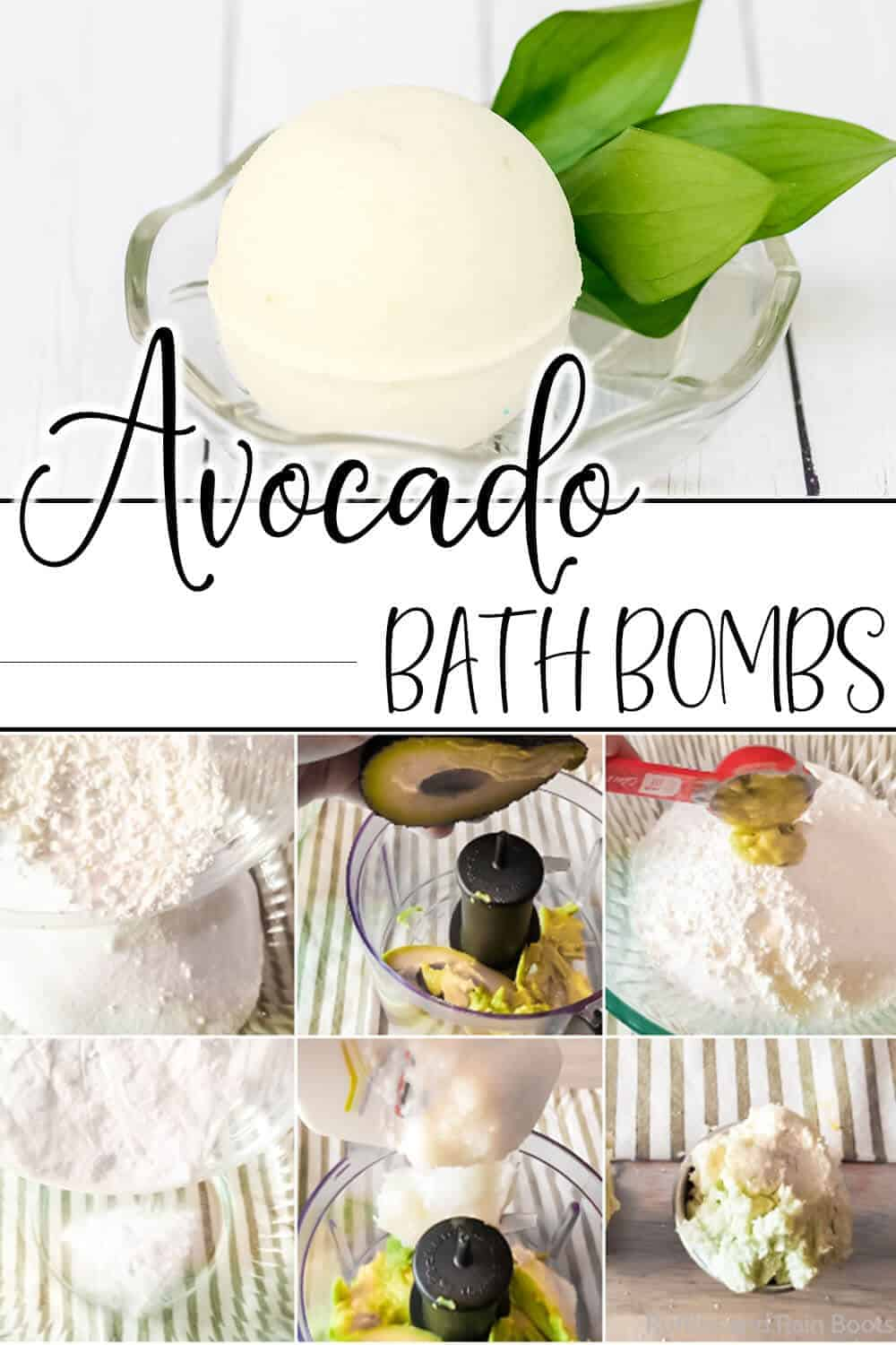 photo collage of easy DIY bath bombs with avocado with text which reads avocado bath bombs