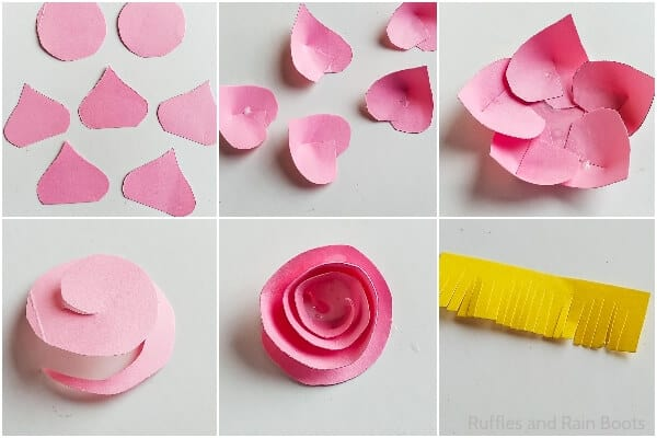 photo collage tutorial of how to make paper flowers for a spring wreath