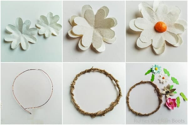 photo collage tutorial of how to make a spring wreath with paper flowers