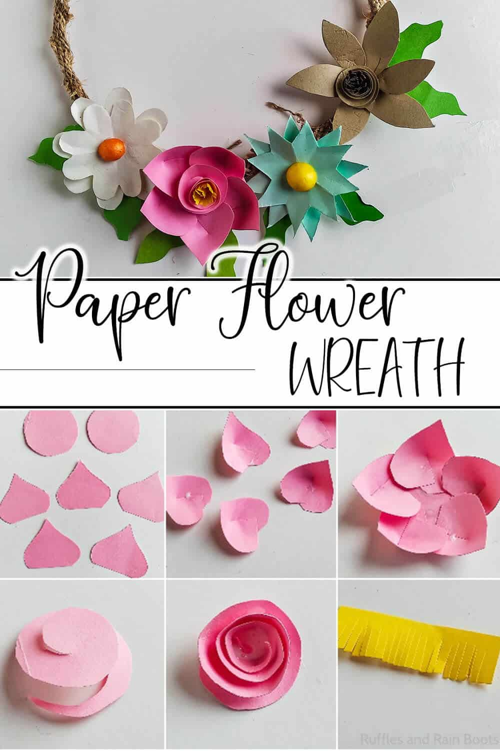 photo collage of easy wreath for spring with text which reads paper flower wreath