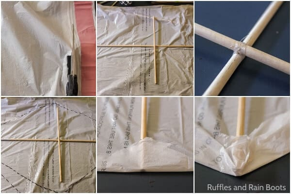 photo collage tutorial of how to make a kids kite at home