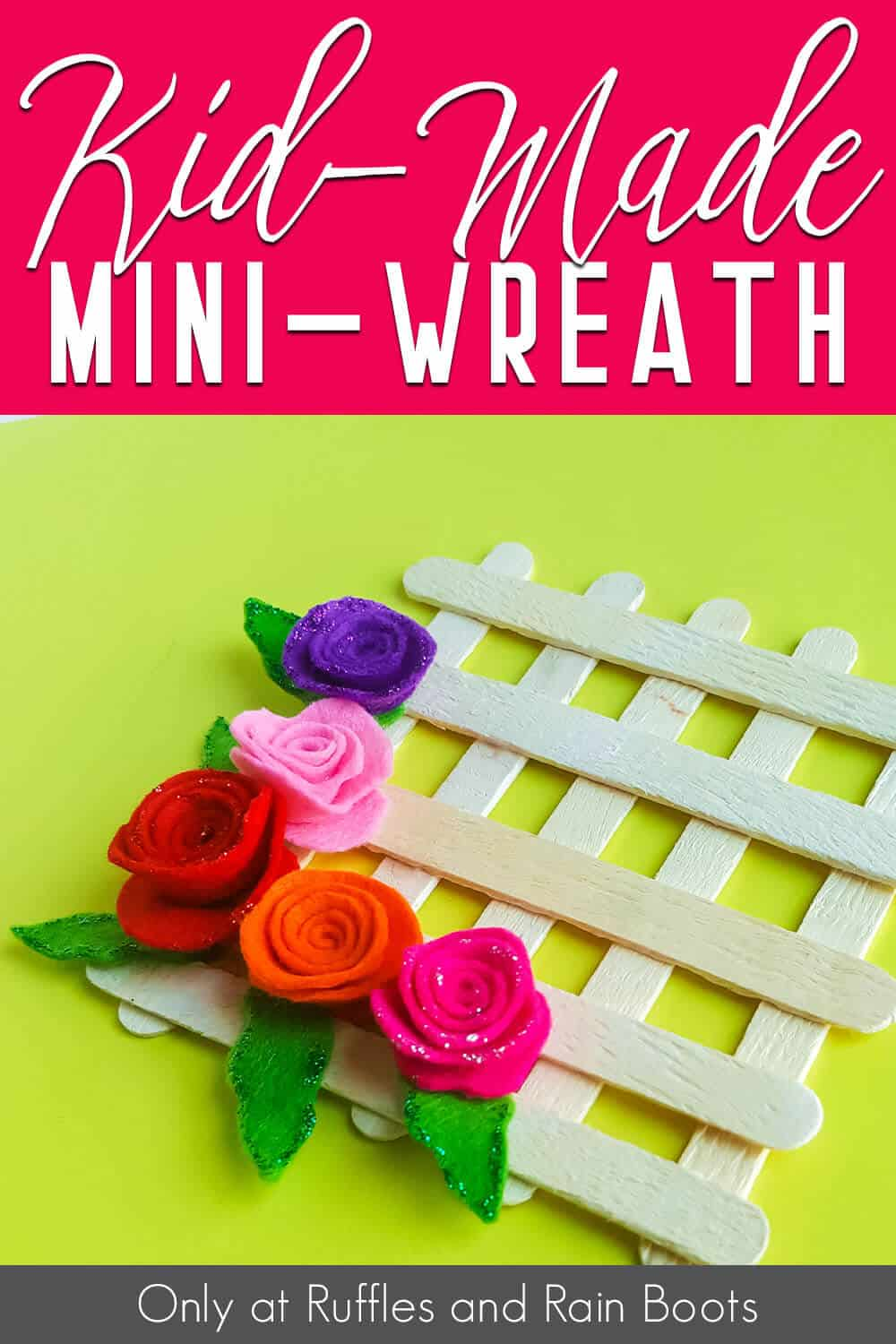 kid-made mini wreath craft with text which reads kid-made mini-wreath