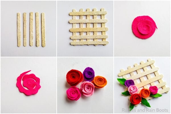 photo collage tutorial of how to make a popsicle stick flower wreath kid craft