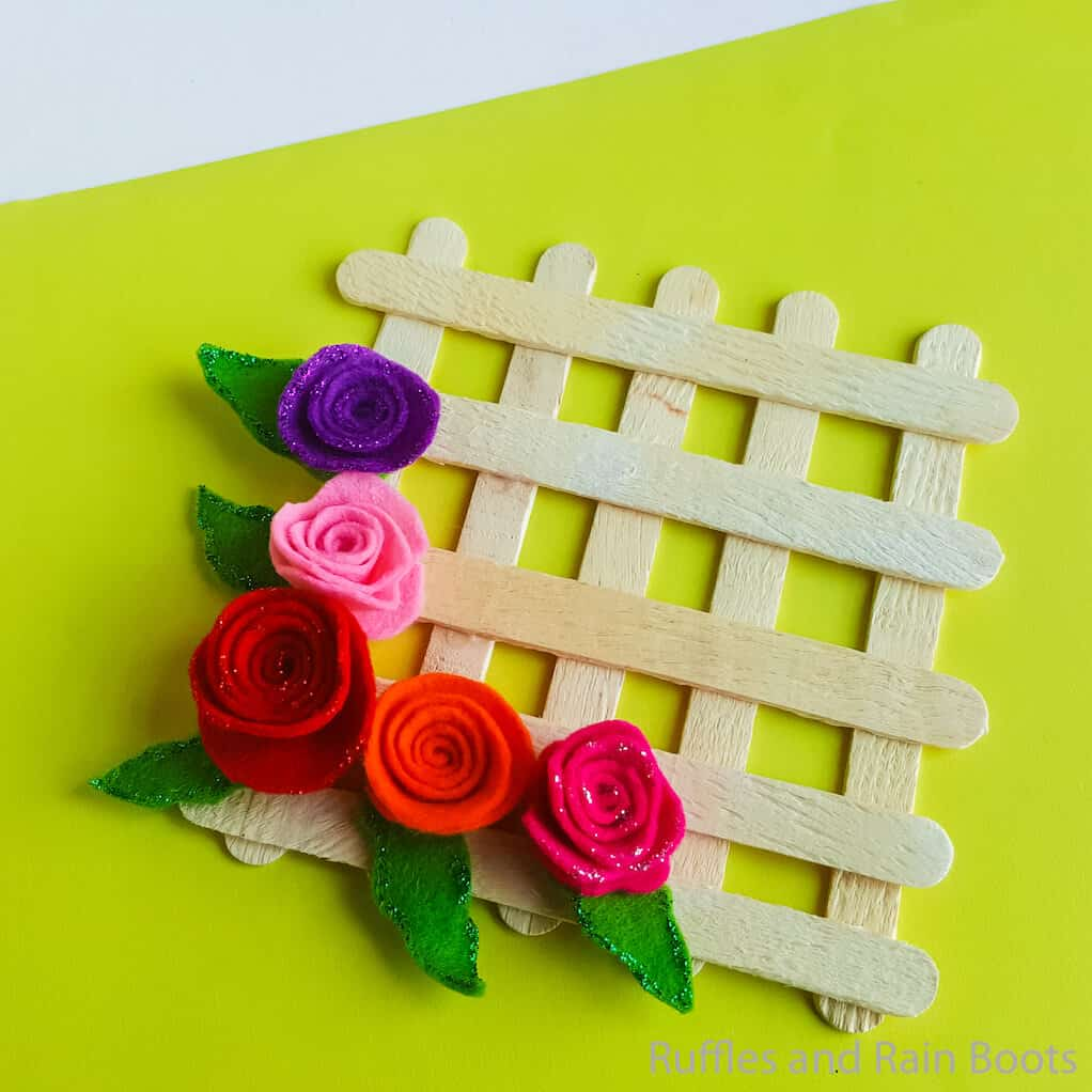 kid made popsicle stick wreath