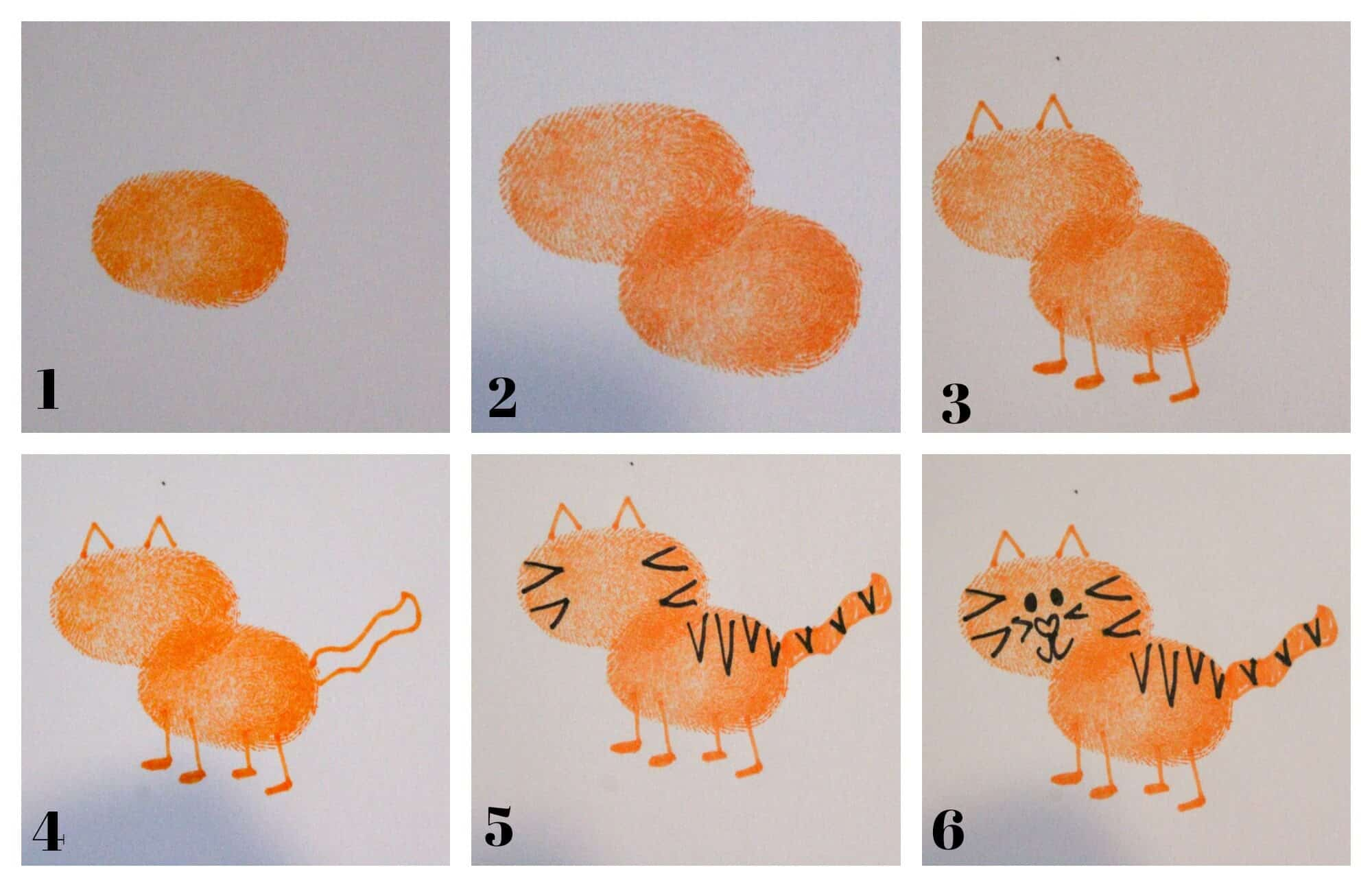 photo collage of how to draw a tiger with a thumbprint base