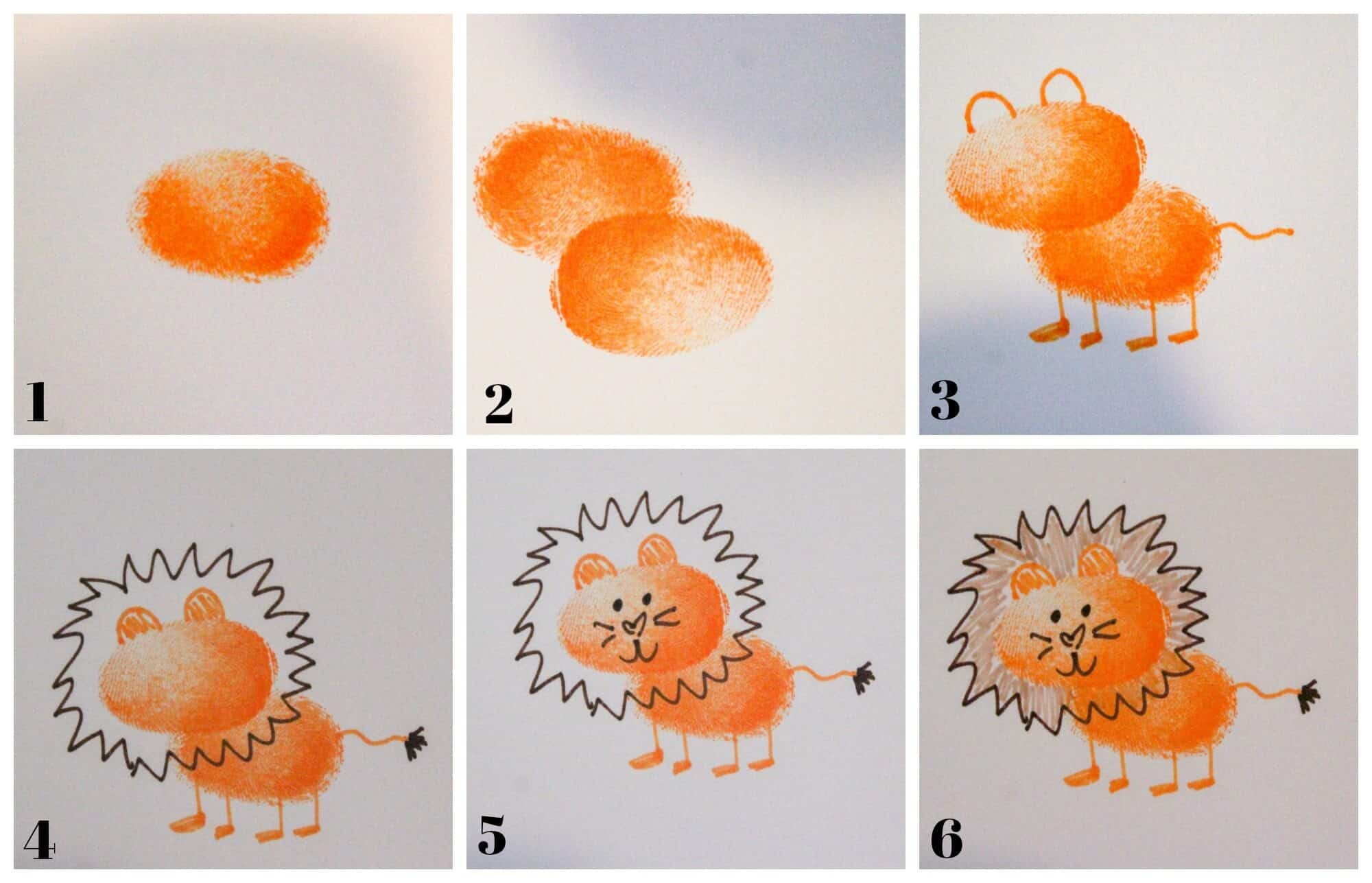 photo collage tutorial of how to draw a tiger with a thumbprint base