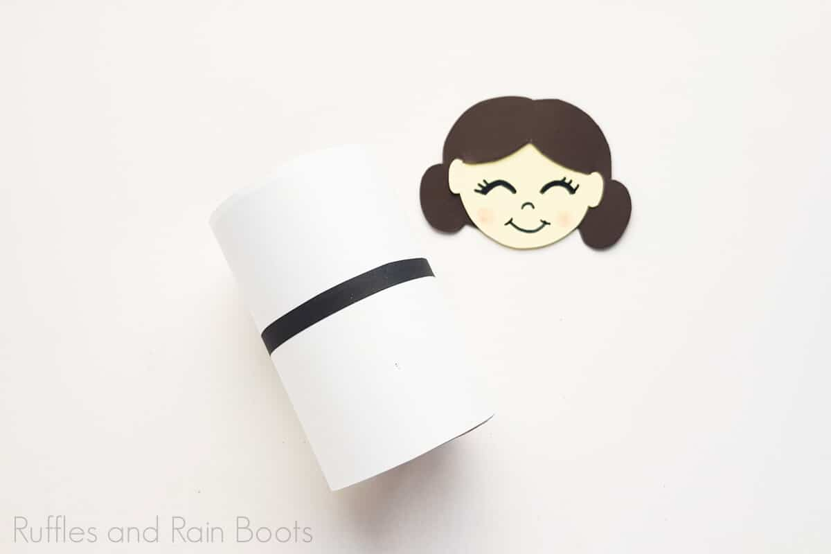 Process Image of Princess Leia Paper Doll's completed head as well as body on a white background.