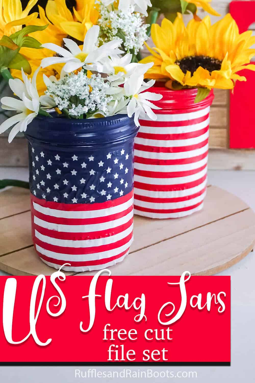 farmhouse decor mason jars painted as a us flag with text which reads use flag jars free cut file set