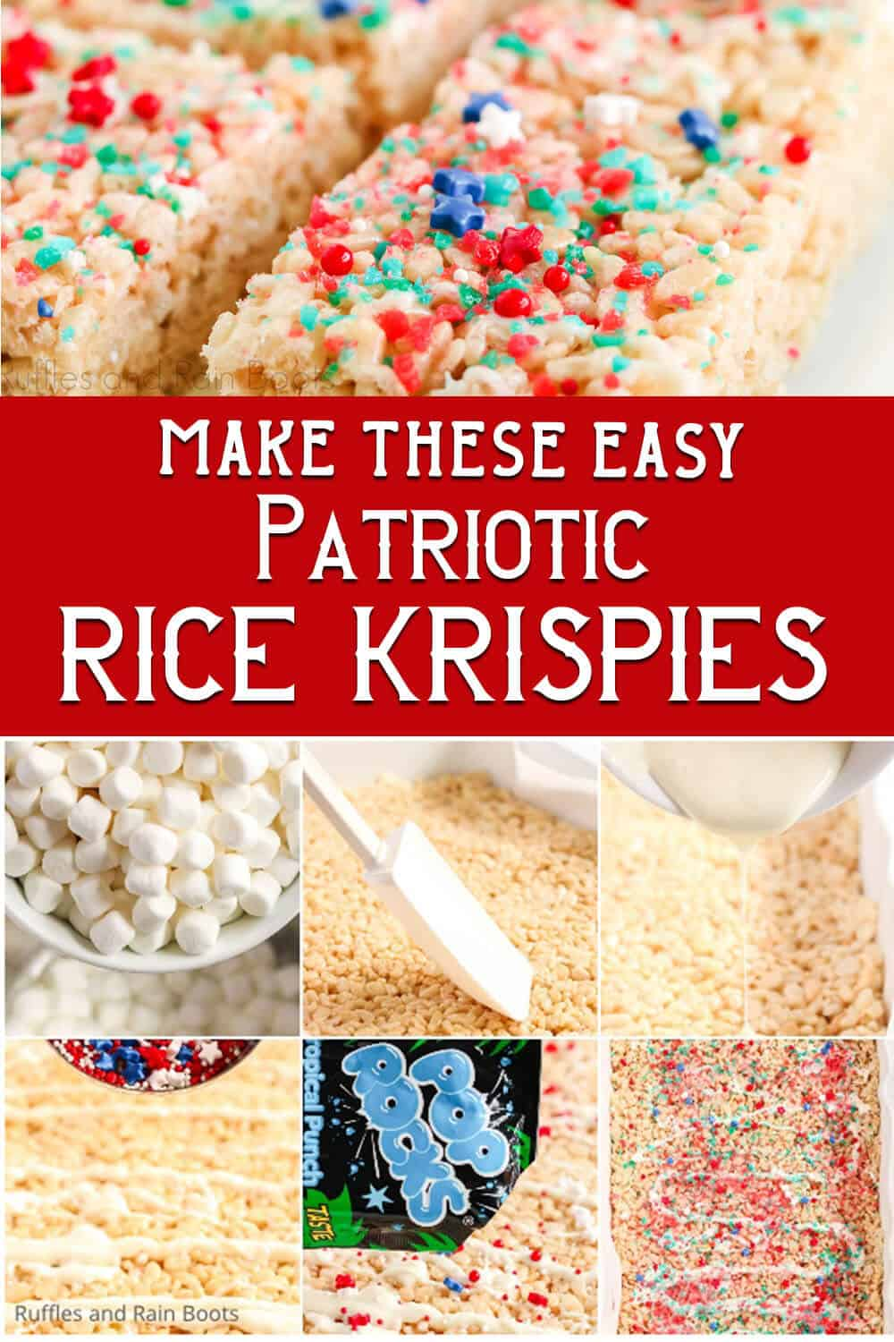 photo collage of easy firecracker rice crispies treats kids can make with text which reads make these easy patriotic rice krispies