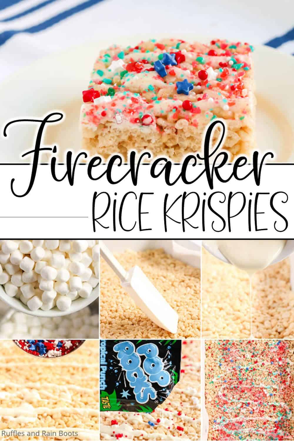 photo collage of independence day rice kirpsies treats with text which reads firecracker rice krispies
