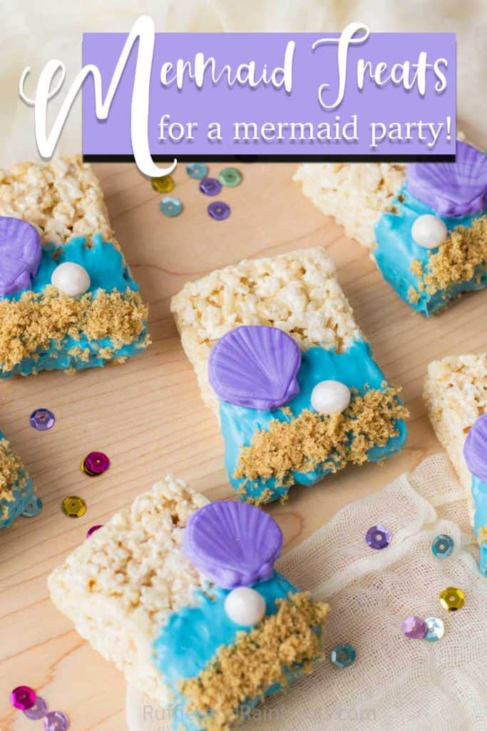mermaid party rice krispies treats with text which reads mermaid treats for a mermaid party!