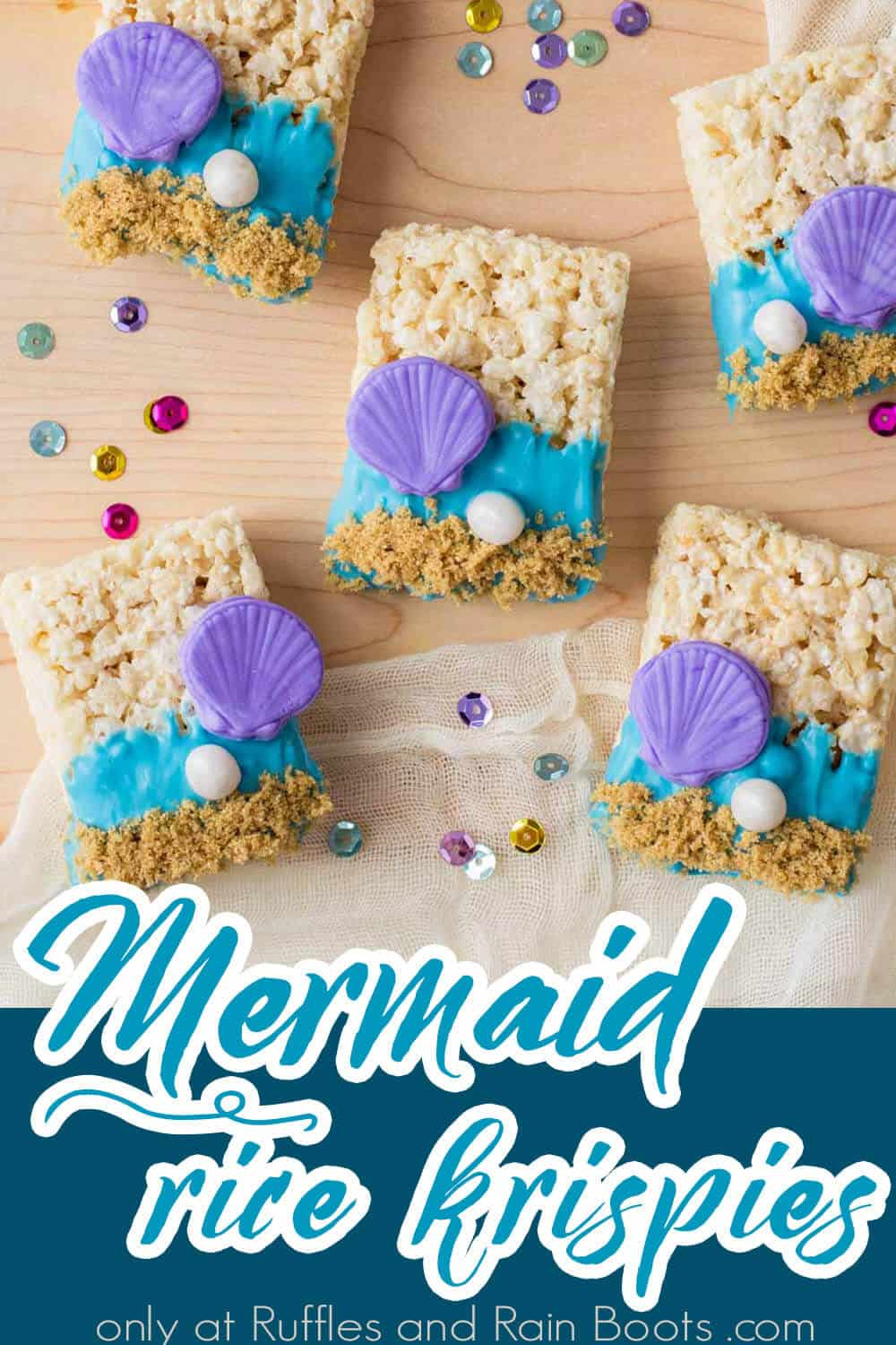 under sea rice krispies treats with text which reads mermaid rice krispies