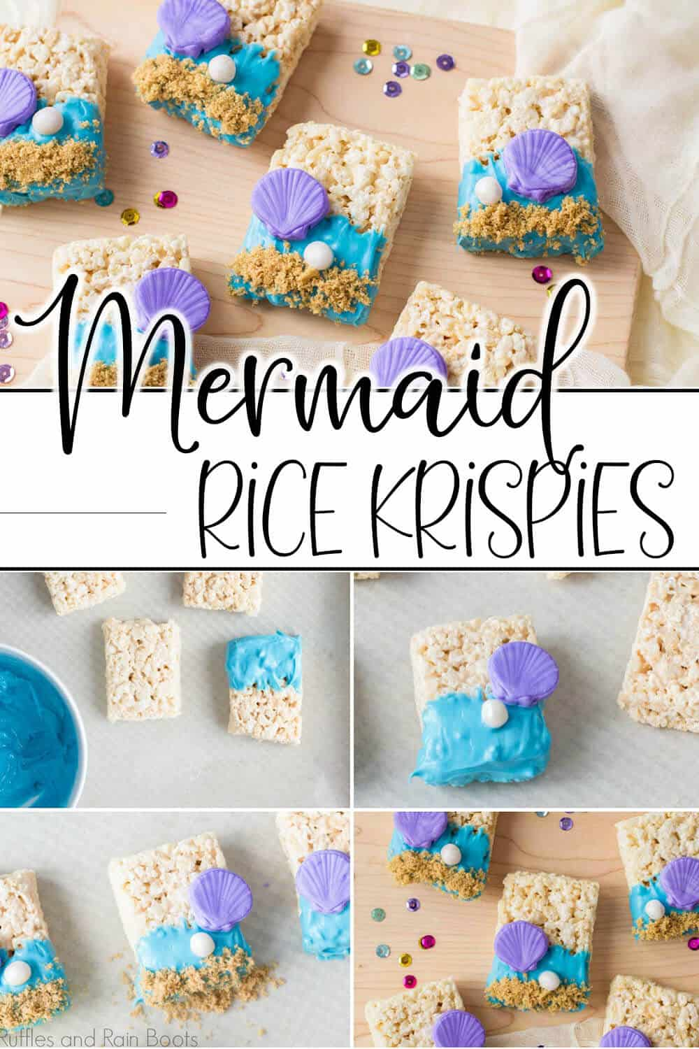photo collage of easy cereal treat recipe with text which reads mermaid rice krispies