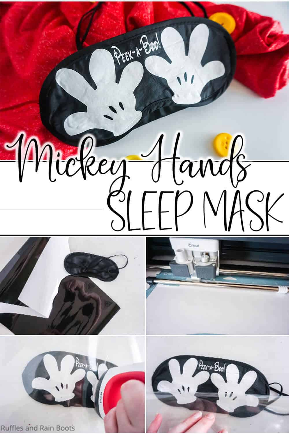 photo collage of easy diy disney cruise fish extender gift idea with text which reads mickey hands sleep mask
