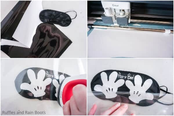 photo collage tutorial of how to make a Mickey Hands sleep mask