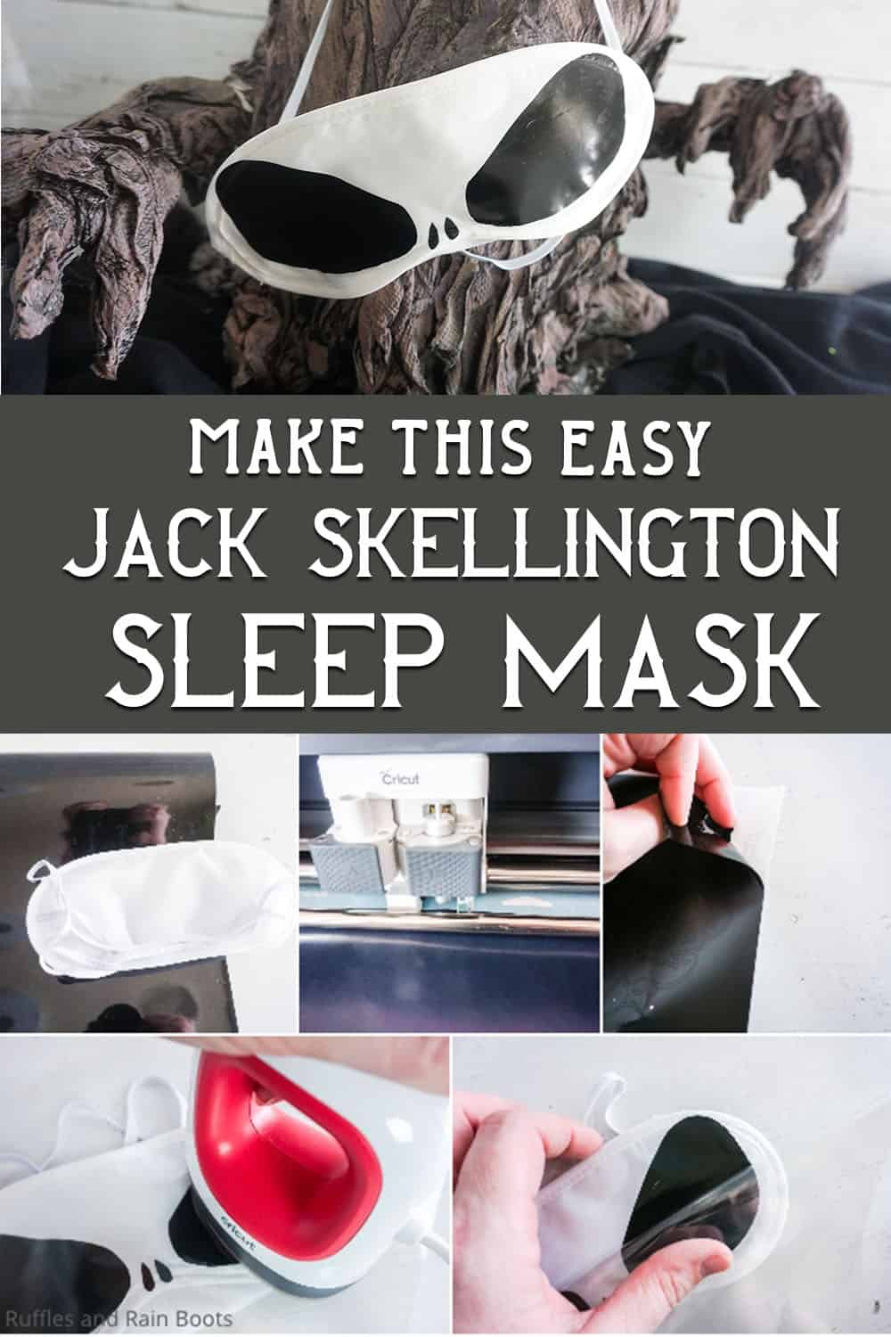 photo collage of easy DIY disney cruise fish extender gift idea of a jack the pumpkin king sleep mask with text which reads make this easy jack skellington sleep mask