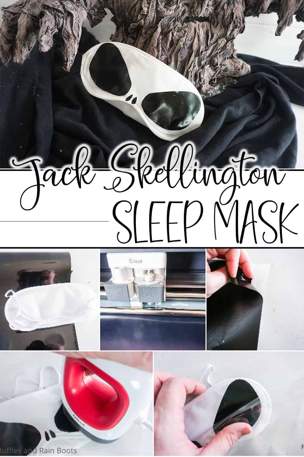 photo collage of diy fish extender gift idea with text which reads jack skellington sleep mask